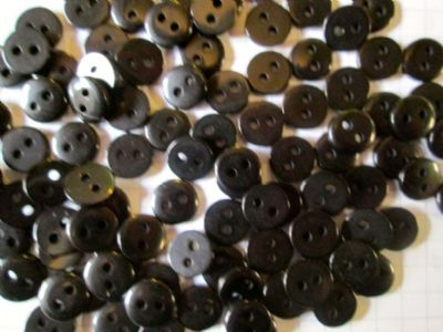 6mm Black Dolly/Craft Buttons x 50